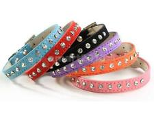 Cow Leather Pet Dog Cat Puppy Collar Neck Buckle Adjustable Strap Size XS - M