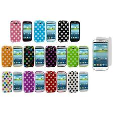 TPU Polka Dot Cover Case+3X LCD Protector for Samsung Galaxy S3 S III i9300