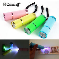 Mini Torch Water Resistant Rubber Coated Body 9 LED AAA Portable Flashlight Lamp