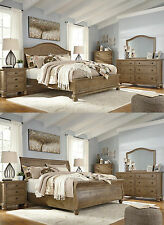 Ashley Furniture Light Brown 4pc Bedroom Set Queen King Bed Dresser MIrror NS