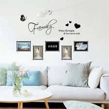 Wall Art Sticker Family Where Life Begins - Decal Quote Love Hearts Vinyl Home