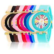 New Women's Silicone Rubber Jelly Crystal Dial Analog Quartz Wrist Watch