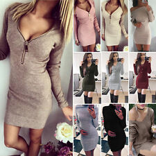 Sexy Women Long Sleeve Winter Knitted Sweater Pullover Jumper Bodycon Mini Dress