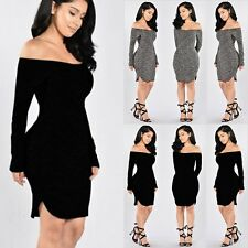 Sexy Women Long Sleeve Knit BodyCon Club Party Sweater Mini Dress Off Shoulder