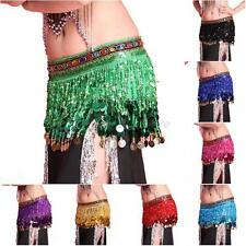 Belly Dance Sequin Tassel Hip Scarf Skirt Wrap Rhinestone Coins Waist Belt Chain