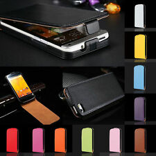 Luxury Genuine Real Leather Vertical Flip Skin Case Cover For Sony Xperia Series