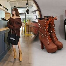 Womens High Heel Booties Platform Ankle Lace Up Boots Fashion Boots Shoes Slim #