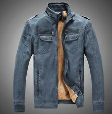 Mens fashion leather stand collar motorcycle cowboy Fur Lined jacket retro coats