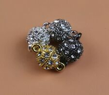 Lot Crystal Rhinestone Pave Round Ball Magnetic Clasp Strong Connector Closure