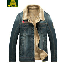 Mens Fur Lining Jean Fleece Jacket Single-breasted Denim Coat Wear Retro Jacket