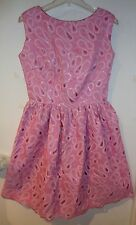 VTG 50s PINK FULL SKIRT ROCKABILLY SWING PROM DRESS RHINESTONE DIAMONDS WOMENS