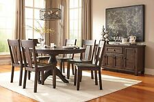 7pc Solid Wooden Round Dining Room Set Casual Ashley Home Design Furniture