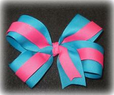"Turquoise Pink Boutique Hair Bow 2 Tone Large 5"" inch Girls Baby Toddler Hairbow"