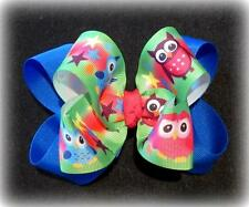Bright Owls Boutique Hair Bow Double Hairbow Electric Blue Colorful Hoot Hoo