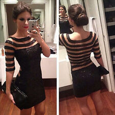 Women Sequins Black Striped Clubs Party Cocktail Stitching Mesh Mini dress