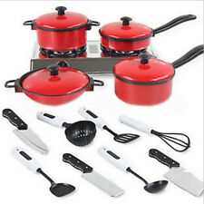 13PC Kids Present Play House Toy Cooking Kitchen Utensil Pans Pots Dish Cookware