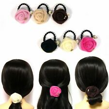 Faux Calf Hair Fur Fabric Rose Flower Elastic Ponytail Holder Tie Ring Band Rope