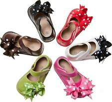Leather Squeaky Shoes with Clip On Bows Baby Toddler Size 1 2 3 4 5 6 7 RUNS BIG