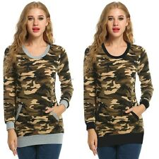 Casual Women O-Neck Long Sleeve Camouflage Print Slim Blouse Tops with Pocket