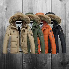 New Mens Warm Fur Collar Hooded Parka Thick Down Coat Outwear Down Winter Jacket