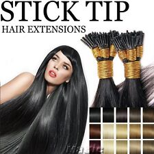 """Double Drawn Remy Human Hair Extensions Pre Bonded Stick I Tip 0.5 18""""20""""22""""U912"""
