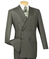Men's Charoal Gray Pinstripe Double Breasted 6 Button Classic-Fit Suit NEW