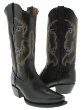 womens coal black leather cowboy cowgirl boots western rodeo riding snip toe