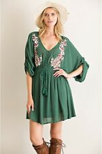 Solid Kimono Dress Roll Up Sleeves Adjustable Waist Floral Embroidery Detailing