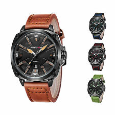 Men's Watches Military Leather Analog Date Alarm Waterproof Quartz Wrist Watch