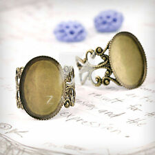 5-6pcs Flat Oval/Bow Tie Ring Mountings DIY Engagement Settings Antique Color