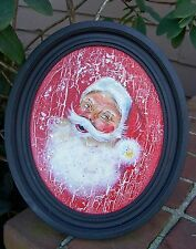 Christmas Santa Claus Oil Painting on Wood in Antique Frame By Gray