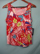 NWT Chaps Sport by Ralph Lauren Red and White Tropical Floral Women's Tank Top