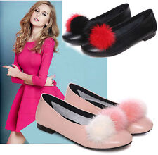 HOT Leather Ballet Flats Fur Ball Ladies Fashion Casual Round toe Shoes Shallow