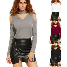 Womens Casual Blouse Off The Shoulder V Neck T-Shirt Ladies Long Sleeve Slim Top