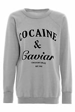 Womens Cocaine And Caviar Print Jumper Ladies Pullover Sweatshirt Plus Size Top
