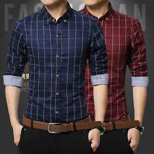 2017 Stylish Men Plaid&Check Long Sleeve Slim Fit Casual Dress Shirt Tops M-4XL