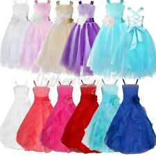 USA Pageant Flower Girl Dress Kids Birthday Wedding Bridesmaid Gown Formal Dress