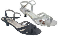 Ladies Shoes No Shoes Rite Black or Silver Strappy Satin Glitter Heels 6-11