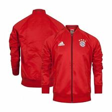 adidas FC Bayern Munich Anthem Jacket Mens Red Football Soccer Top Tee Shirt