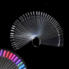 50Pcs Beauty Nail Art False Tips Sticks Practice Display Fan Board Design Tools