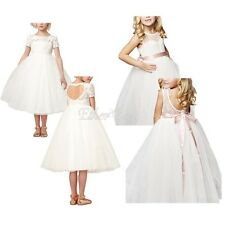 White Flower Girls Dress Wedding Bridesmaid Lace Princess Pageant Kids Birthday