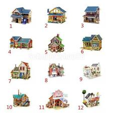 Wooden DIY 3D Puzzle Jigsaw House Model Kid Gift Toy Teahouse Grocery Farm Pub