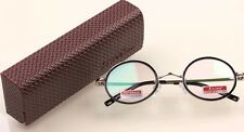 RG40/1 NEW FASHION ROUND FRAME RETRO READING GLASSES WITH CASE +1.50 +2.00 +2.50