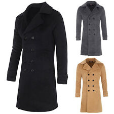 Korean Men's Fashion Slim Fit Double Breasted Long Trench Office Coat Jacket NEW