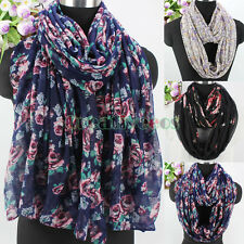 Women Vintage Floral Long/Infinity Scarf Snood Polyester Soft Ladies Scarves New
