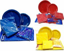 Tableware Party Supply Pack Plates Napkins Cutlery Table Cover - Choose Color