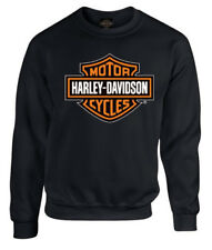 Harley-Davidson Mens Bar & Shield Long Sleeve Crew Neck Fleece Sweatshirt, Black