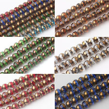 Lots 20/40Pcs Rondelle Faceted Crystal Glass Loose Spacer Beads Jewelry Findings