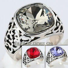 Fashion Simulated Gemstone Solitaire Band Ring 18KGP Rhinestone Crystal
