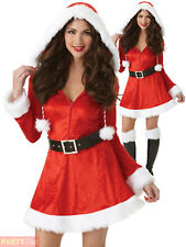 Ladies Sexy Santa Claus Costume Adults Mrs Father Christmas Fancy Dress Womens